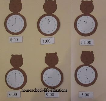 telling time folder game